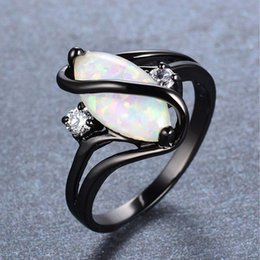 Wholesale White Fire Opal Stone Rings For Women Wedding Rings Crystal Black Silver Cz Ring Luxury Femme Girl O5n611