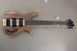 Electric Bass Guitar One UK - Factory Sale one piece maple neck W LTD Corvette 5 strings Burlywood electric bass guitar with 9V Battery active pickups 15-6-25
