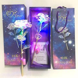 24 K Oro Rosa Hoja Flor Eternidad Rosa Romántico Arco iris LED Oro Hoja Hermosa Día de San Valentín Día de la Madre