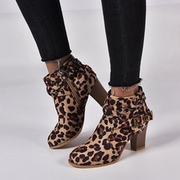 big toe band Australia - Oeak Women Middle Heel Female Leopard Boots Elastic Band Fashion Round Toe Ankle All Match Comfortable Big Size