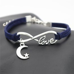 dark star leather NZ - 2019 Woven Dark Navy Leather Wax Cord Jewelry Fashion Alloy Infinity Love Star and Moon Charm Bracelet Bangles Trendy Women Men Gift Bijoux