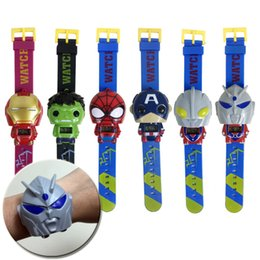 Wholesale Kids Avengers deformation watches New Children Superhero cartoon movie Captain America Iron Man Spiderman Hulk Watch toys