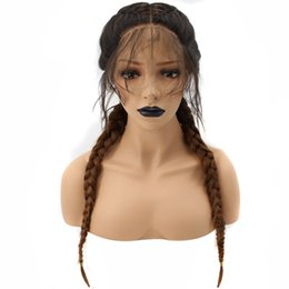 $enCountryForm.capitalKeyWord Australia - Ombre Brown Double Braids Long Straight High Temperature Fiber Braieded Two Tones Glueless Synthetic Front Lace Wigs With Baby Hair