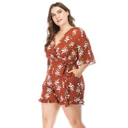 Plus Size V Neck Jumpsuit Australia - Floral Playsuit Women Summer Romper 2018 Boho Style V-neck Half Sleeve Chiffon Jumpsuits Plus Size 3XL 4XL 5XL One Piece Outfit