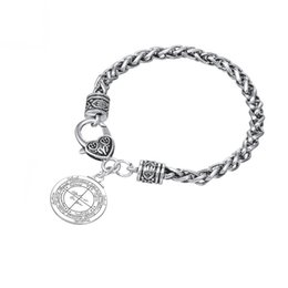 knotted bracelets NZ - BC011 Retro Chinese knot pendant thick bracelet antique silver double-sided engraving fashion bracelet