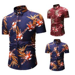 Wholesale blue tuxedo shirt men resale online - Short Sleeve Shirt Men Casual Summer Hawaiian Shirt Flower Print High Quality Tuxedo Camisas Hombre M XL Red blue