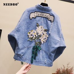 Wholesale denim crop jacket for sale - Group buy NEEDBO Denim Jacket Oversize Crop Denim Jacket Woman Casual Loose Jeans Women Summer Female Women Jackets and Coats
