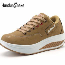 running shoes khaki Australia - Hundunsnake wedge sneakers on thick soles women's sport shoes women running shoes sports khaki tennis platform feminino B-045
