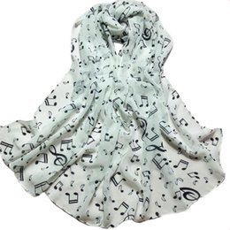 Wholesale Musical Scarves Australia - Summer Style Long Chiffon Ladies Scarves Woman Musical Note Print Long Wrap Scarfs Shawl Foulard Female