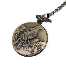 Male Pendant Design Australia - Antique Eagle Design Fob Quartz Pocket Watch With Necklace Chain Pendant Gift for Male Female Gift Anime Pocket Watch