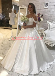 $enCountryForm.capitalKeyWord Australia - Charming 2019 Off Shoulder Wedding Dresses Lace Satin Sequins Mariage Arabic Country Bridal Ball Gown For Bride Plus Size robe de mariée