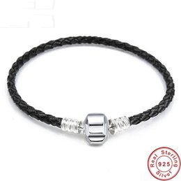 pan charms 2019 - 925 Sterling Silver Genuine Leather Barrel Clasp Snake Chain Pan Bracelet Bangle Fit Women Diy Bead Charm Jewelry cheap