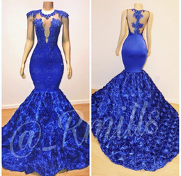 Discount 3d evening gowns - 2019 New Royal Blue Cap Sleeves Lace Mermaid Long Prom Dresses Tulle Lace Appliques 3D Floral Floor Length Evening Gowns