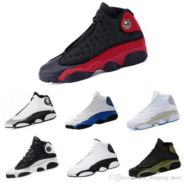 da003a90059 Mens Wholesale 13 Bred Basketball Shoes New Color White Red Team Red Hoyas  Chicago Men Shoes Xiii Sport Sneakers