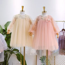 d4d141f8e9 Girls lace flowers embroidered tulle dress 2019 new children Bows gauze  puff sleeve tulle tutu dress kids princess dress pink apricot A01554