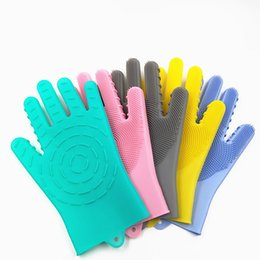 $enCountryForm.capitalKeyWord UK - Silicone Gloves with Wash Scrubber Non-Slip Magic Latex Gloves for Household Cleaning Great for Protecting Hands in Dishwashing Car Washing