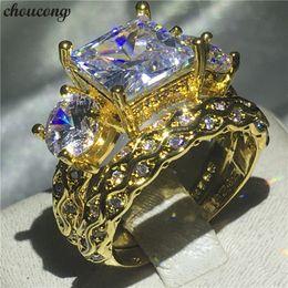 Diamond Band Set Australia - choucong Vintage Ring set Yellow Gold Filled Three-stone Diamond Engagement Band Rings For Women men Wedding Jewelry Bridal set