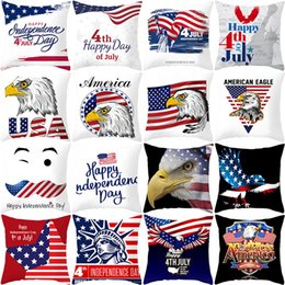 Pillow cases cushions online shopping - 27styles American Independence Day Pillow Case Sofa Cushion Cover Home Decor Seat Pillowcase America Flag Throw Pillow Cover cm FFA2067