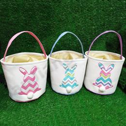 Discount free tote bag patterns - Easter DIY Barrels Baskets Rabbit Pattern Burlap Storage Bags Bunny Embroidered Wavy Girls Teenagers Handbags Rabbit Tai