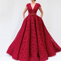 Vintage Embroidery Art Australia - Latest Design Wine Red Lace Prom Dresses 2019 V-Neck Sashes Diamond Sexy A-Line Evening Gowns Vintage Arabian Prom Dress robes de soirée