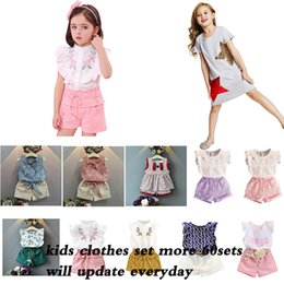 Wholesale clothes more online – design More Baby Girl Summer Tops And Shorts Sets Toddler Lace Floral Cute Clothes Infant kids New clothes girls Costume sets by DHL