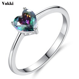 Wholesale Fashion Blue Whtie Cubic Zircon Stone Heart Ring For Women Girl Silver Color CZ Crystal Bague Engagement Wedding Party Jewelry