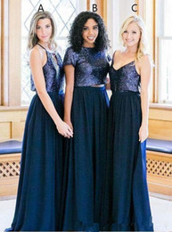 juniors floor length dresses Australia - Country Long Bridesmaid Dresses 2019 Navy Blue Sequins Mixed Style Maid of Honor Junior Wedding Party Guest Gowns Floor Length