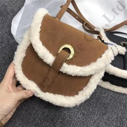 Girls plush handbaGs online shopping - Australia UG Crossbody Bags Brand Saddle Bag Waist Pack Belt Bag Handbags Patchwork Plush PU Leather Winter Lambs Wool Shoulder Bags C112703