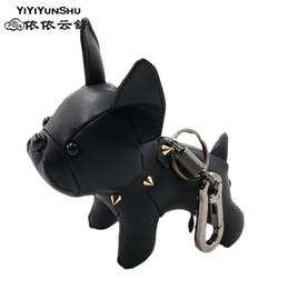 Flashlight Animal NZ - French Bulldog Key Ring Men and Women Cute Leather Dog Keychains Couples Trinkets Keys Animal Keyrings for A Woman C19011001
