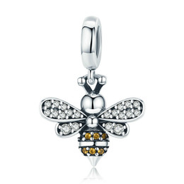 China Crystal Bee Pendant DIY S925 Sterling Silver Beads Luminous CZ Charm Fit for Women Beaded Bracelet Accessory Female Birthday Jewelry Gift cheap cz beads suppliers