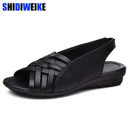 $enCountryForm.capitalKeyWord Australia - 2019 Summer Women Shoes Woman Genuine Leather Flat Sandals Open Toe Mother Wedges Casual Sandals Women Sandals Black Big Size 43 Y19070403