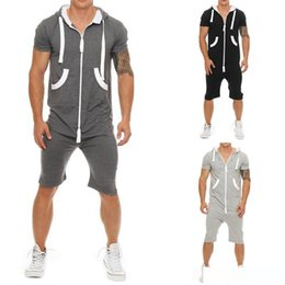 Wholesale overall shorts 3xl for sale – plus size Summer Tracksuit Mens Jumpsuit Overalls Casual Short Sleeve Hoody Tops and Shorts Romper Mens Zipper Sportwear Overalls Size M XL