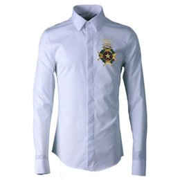 Camisa de los hombres de moda de alta calidad bordado nuevo 100% algodón camisa de los hombres Camisa Masculina de manga larga para hombre camisas Slim Fit en venta