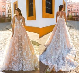 $enCountryForm.capitalKeyWord NZ - A Line Bridal Sleeveless Straps Deep Plunging Full Embellishment Blush Color Wedding Dresses Sheer Back Royal Train DH4006
