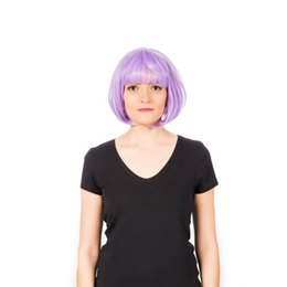$enCountryForm.capitalKeyWord UK - Hot Selling Mechanism High Temperature Silk Fashion Star Style Purple Short Hair Wave Head Wig Set jooyoo