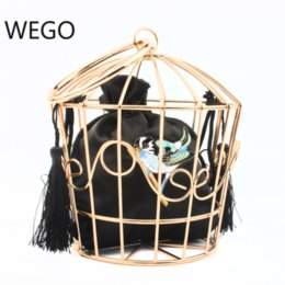 Wholesale Fashion personality embroidery hook flower metal hoop birdcage bag handbag catwalk bag birdcage evening dress cage