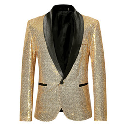 $enCountryForm.capitalKeyWord Australia - Newest Fashion Men Sequins Blazer Shawl Lapel Party Stylish Suit Blazer Business Wedding Party Outdoor Jacket Tops Blouse free shipping
