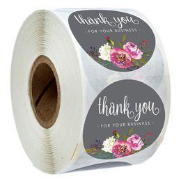 venda por atacado 500pcs / Roll floral agradece-lhe etiquetas Obrigado por seu negócio Revestido Seal papel de etiqueta Adesivos Handmade Artesanato envelope do convite do Cartão