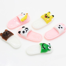 deb7aa2643452 New Kawaii Cute Resin Animal Slippers Cabochons Wholesale Slime Charms  Decorations Scrapbooking Craft DIY Rabbit frog panda