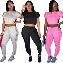 ladies hiking clothes NZ - Women Tracksuits Two Piece Sets Fashion Casual Side Ruffle Crop Top And Long Pants Ladies Sweat Suits Jogger Leisure Suit Female Clothing