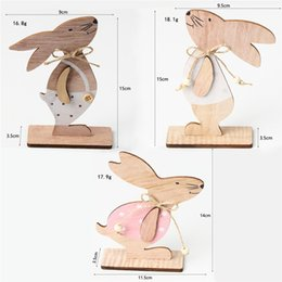 Easter Decoration Wood Easter Rabbit Home Table Decor Wooden Bunny Ornaments Happy Easter Party Favors JK2002 on Sale