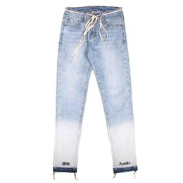 Wholesale jeans blue wash stretch man resale online – designer Skinny Distressed Bleach Jeans Text Embroidery Denim Pants Men Stretch Biker Jeans Streetwear