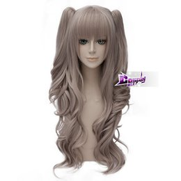anime long wigs 2019 - 60CM Dark Grey Long Wig Hair for Costume Fashion Anime Wig Ponytail Cosplay>>>>>Free shipping New High Qu