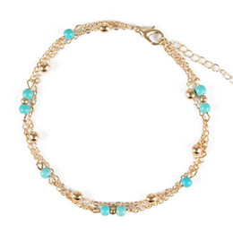 Discount simple chain anklets - Simple Beach Beaded Anklets Double Layer Pine Stone Adjustable Gold Silver Foot Chain Ankle Bracelets for Women Bohemian
