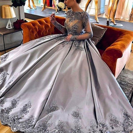 Silver Falls Australia - Amazing Silver Long Sleeves 2018 Evening Dresses Ball Gown Lace Appliques Prom Dress Custom Made Special Occasion Dress Formal Gown
