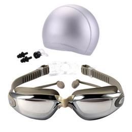 Swim Nose Australia - Hot Women Men Anti Fog UV Protection Surfing Swimming Goggles Professional Swim Glasses With Swim Caps Earplugs Nose Clip Set