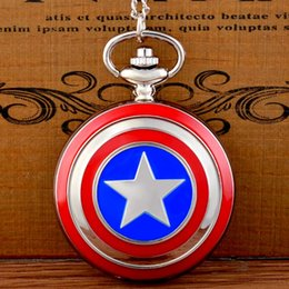 pocket watch chain silver NZ - New Fashion Captain America Icon Quartz Pocket Watch Chains Vintage Men Women Silver Pendant Necklace Clock Gift
