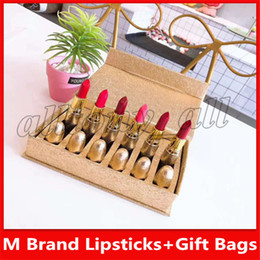 China Famous M Brand Lip Make Up Lipsticks 6 Colors with a Gift Bags and High Quality Nice Smell suppliers