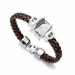 Kyojin cosplay online shopping - New Fashion Anime Attack On Titan Charm Bracelet Shingeki No Kyojin Cosplay Unisex Leather Bracelets Wristband Bangles Wristlet