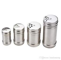 metal spice jars Australia - 4 Sizes Stainless Steel Spice Shaker Pepper Salt Bottles Condiment Container Kitchen Tools Seasoning Bottles Container BBQ Jar Free Shipping